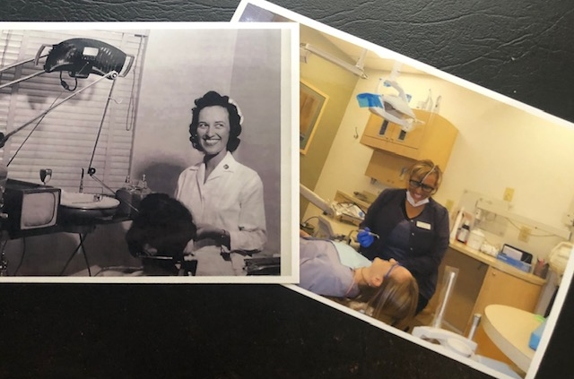 side by side old and new photo of a dental assistant